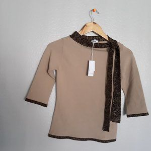 NWT LIST FASHION BEIGE TOP MADE IN ITALY